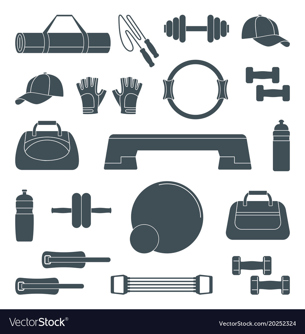Accessories for fitness silhouette icons