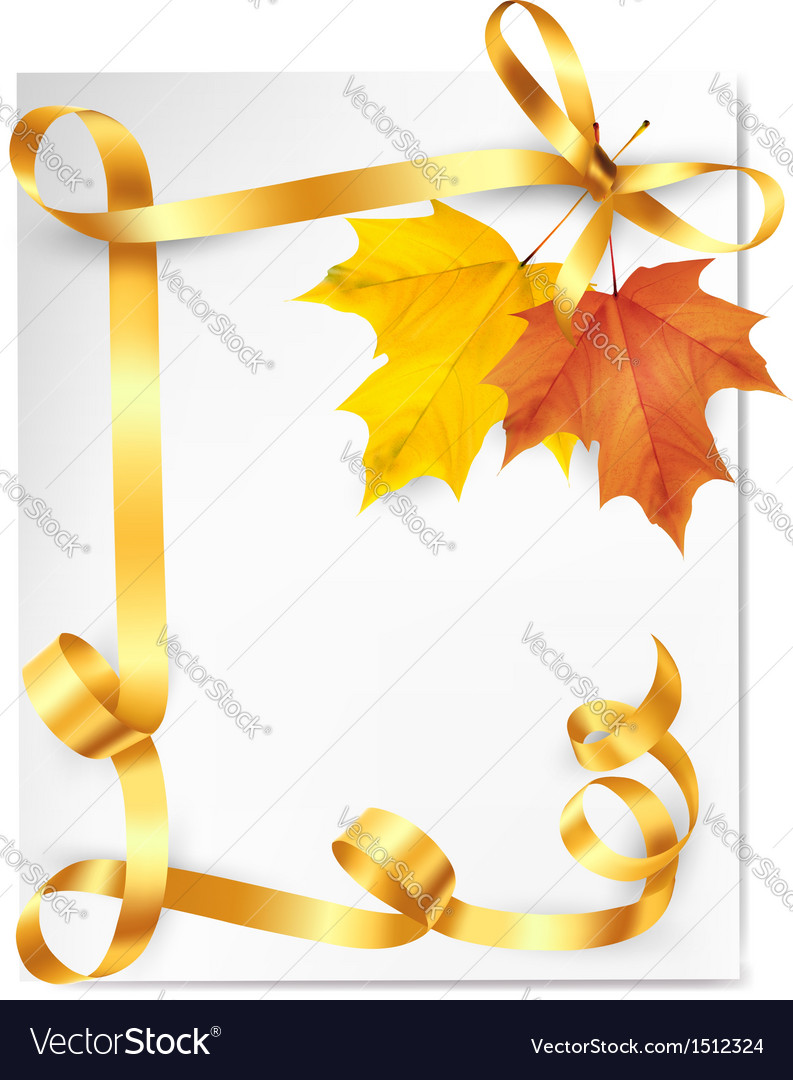 Autumn background with colorful leaves and gold