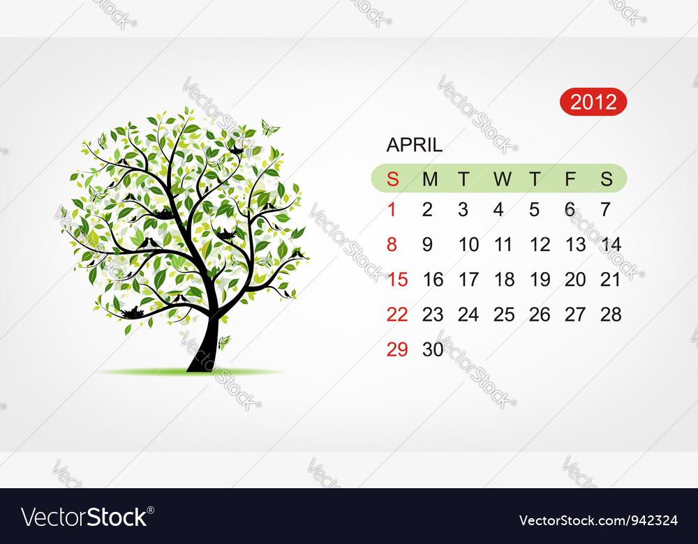 Calendar 2012 april Art tree design