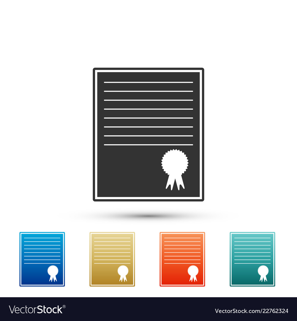 Certificate template icon on white background