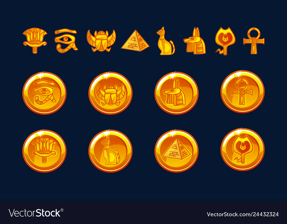 Egypt icons coins and design elements isolated