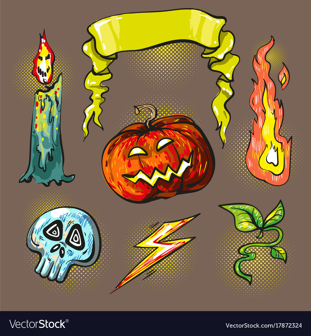 Halloween stickershalftone lights