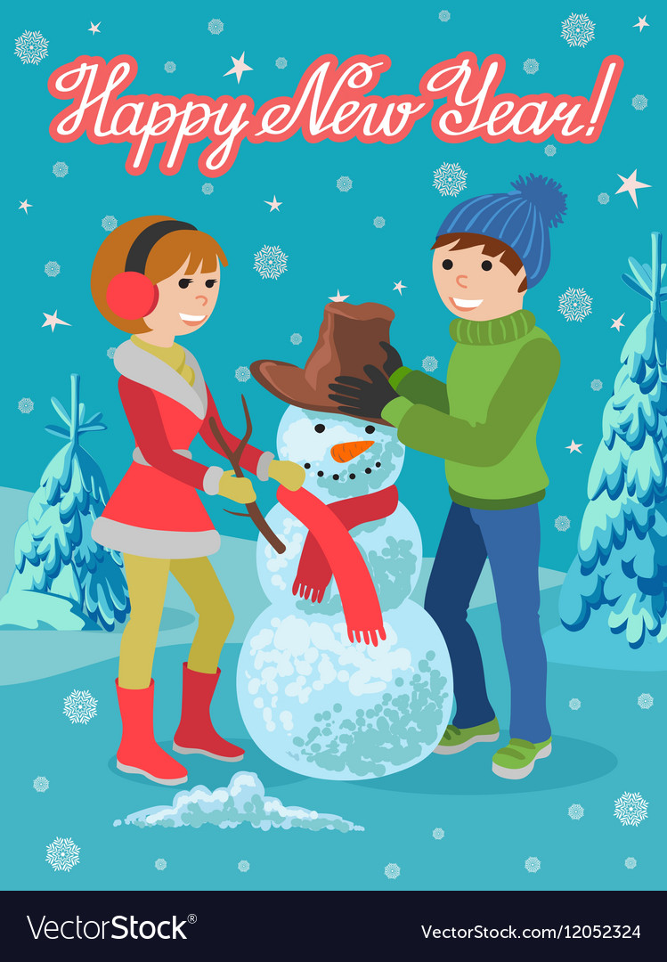 Happy couple of young people sculpts snowman