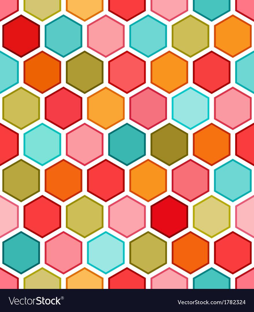 Hexagon multicolored seamless pattern vector image