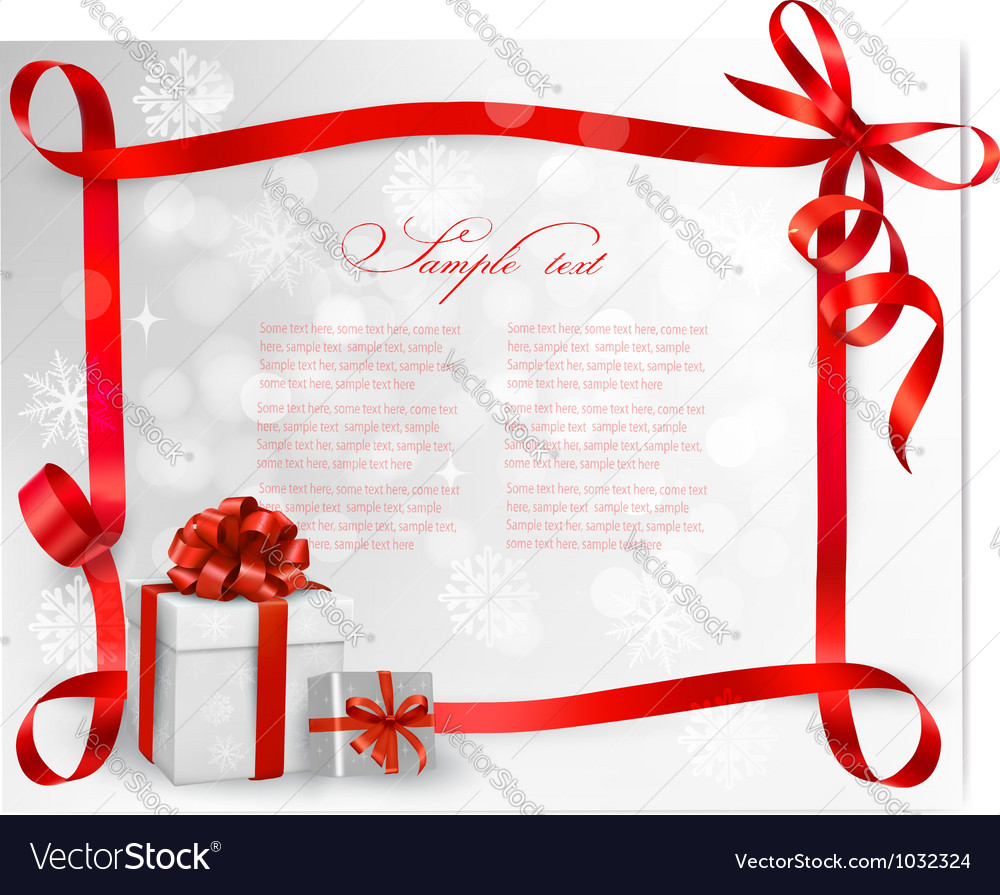 Holiday background with red gift bow with gift