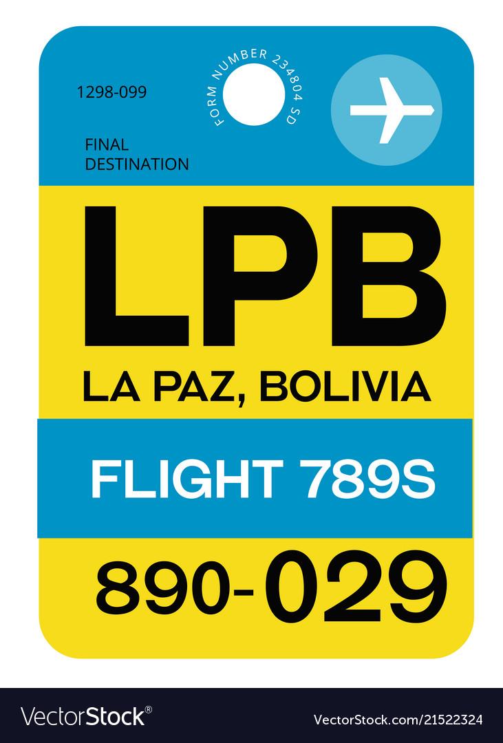 La paz airport luggage tag