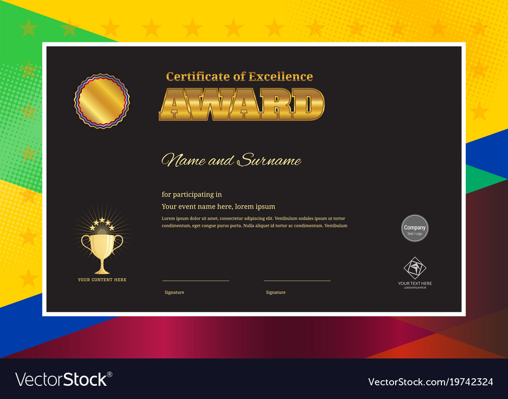 Modern award certificate template with colorful vector image yelopaper Image collections