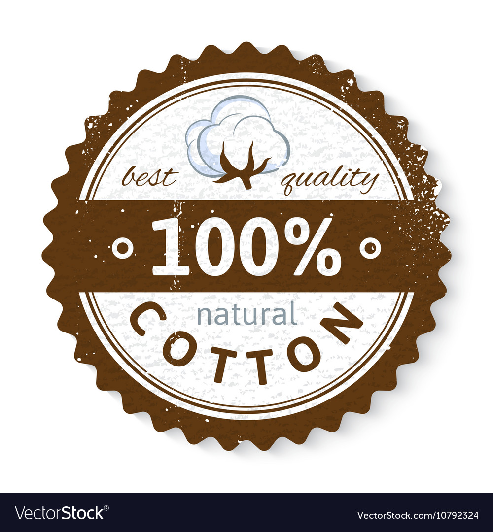 Stamp with cotton plant and text design vector image