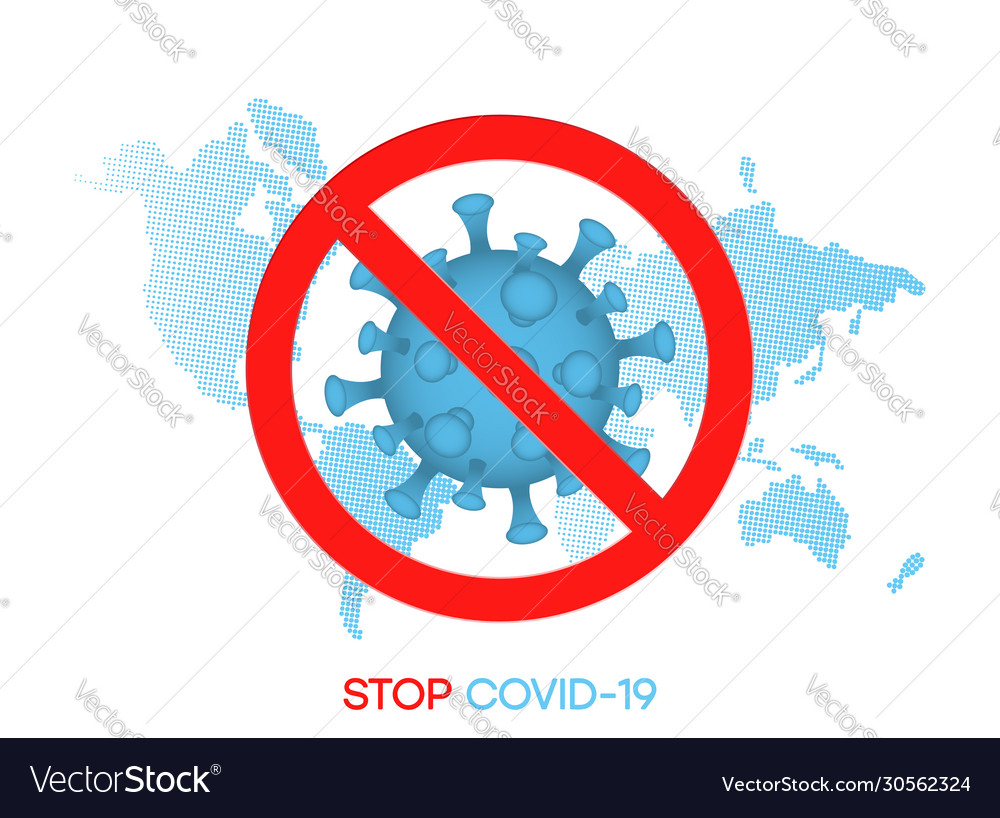 Stop covid19-19 sign at world map background