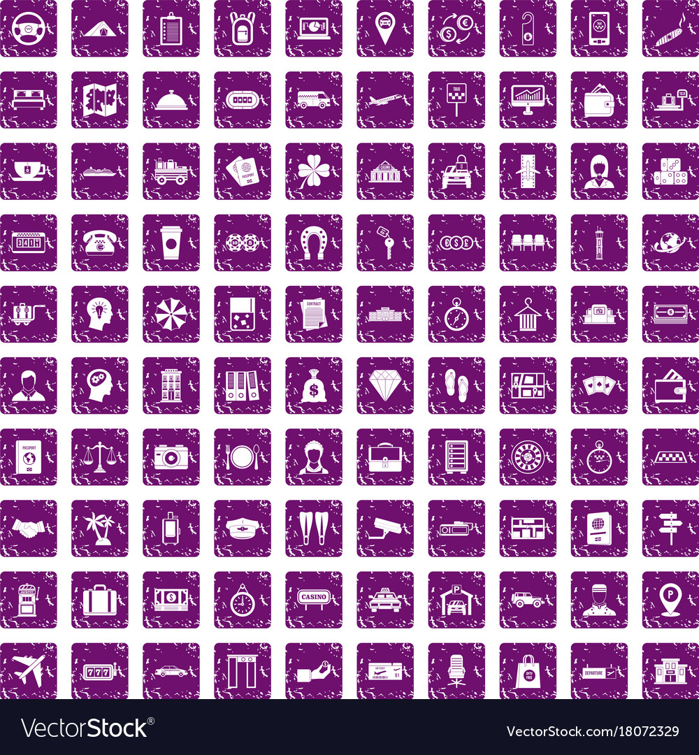 100 paying money icons set grunge purple