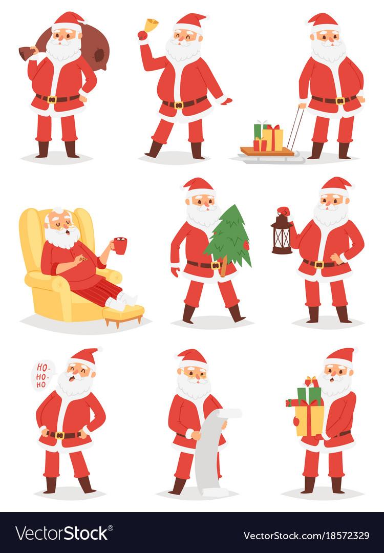 Christmas santa claus character poses