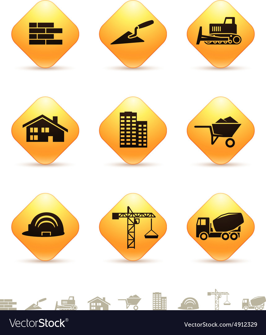 Construction and realty icons on rhombus buttons