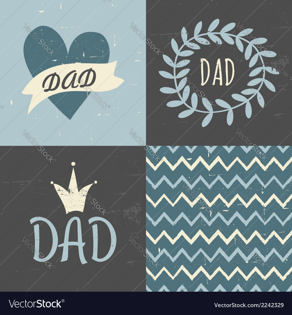 Fathers day greting cards seamless pattern set