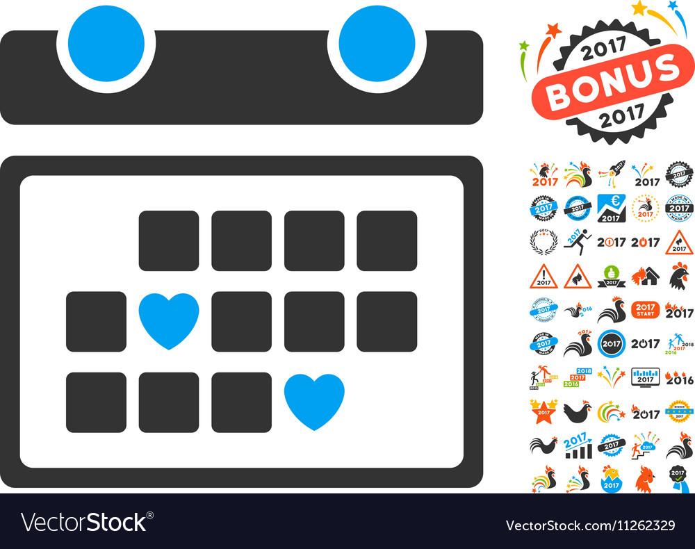 Favourite Days Icon With 2017 Year Bonus vector image