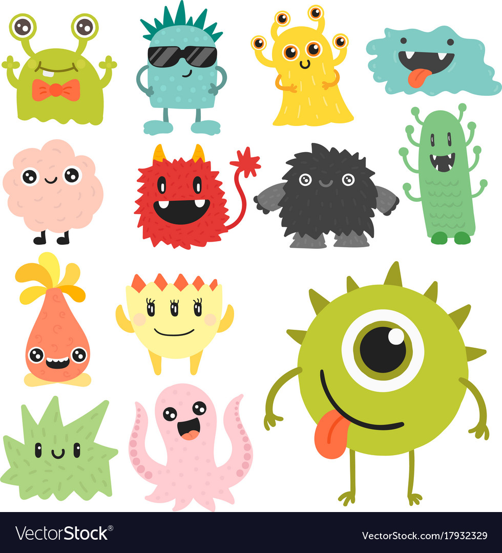Funny cartoon monster cute alien character