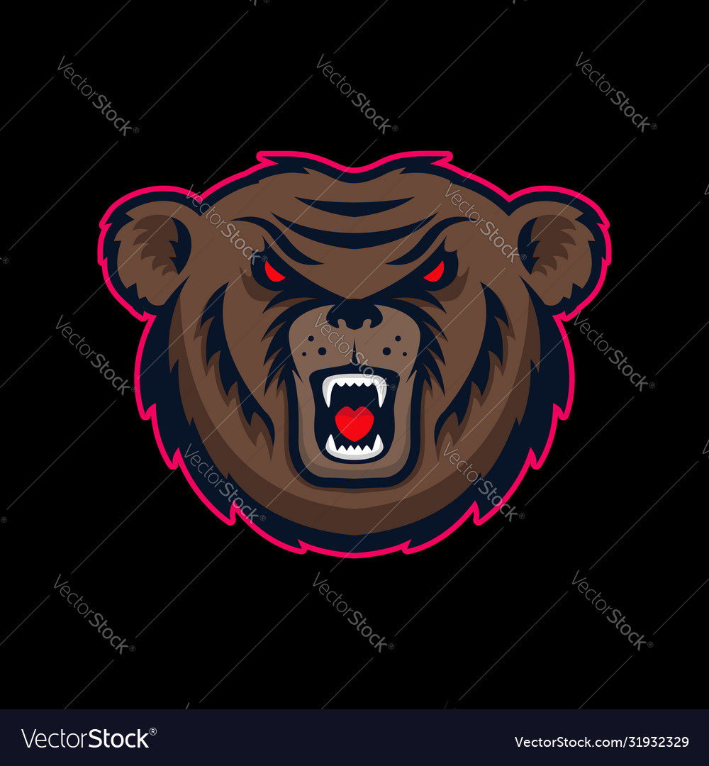 Head angry bear mascot design element for logo