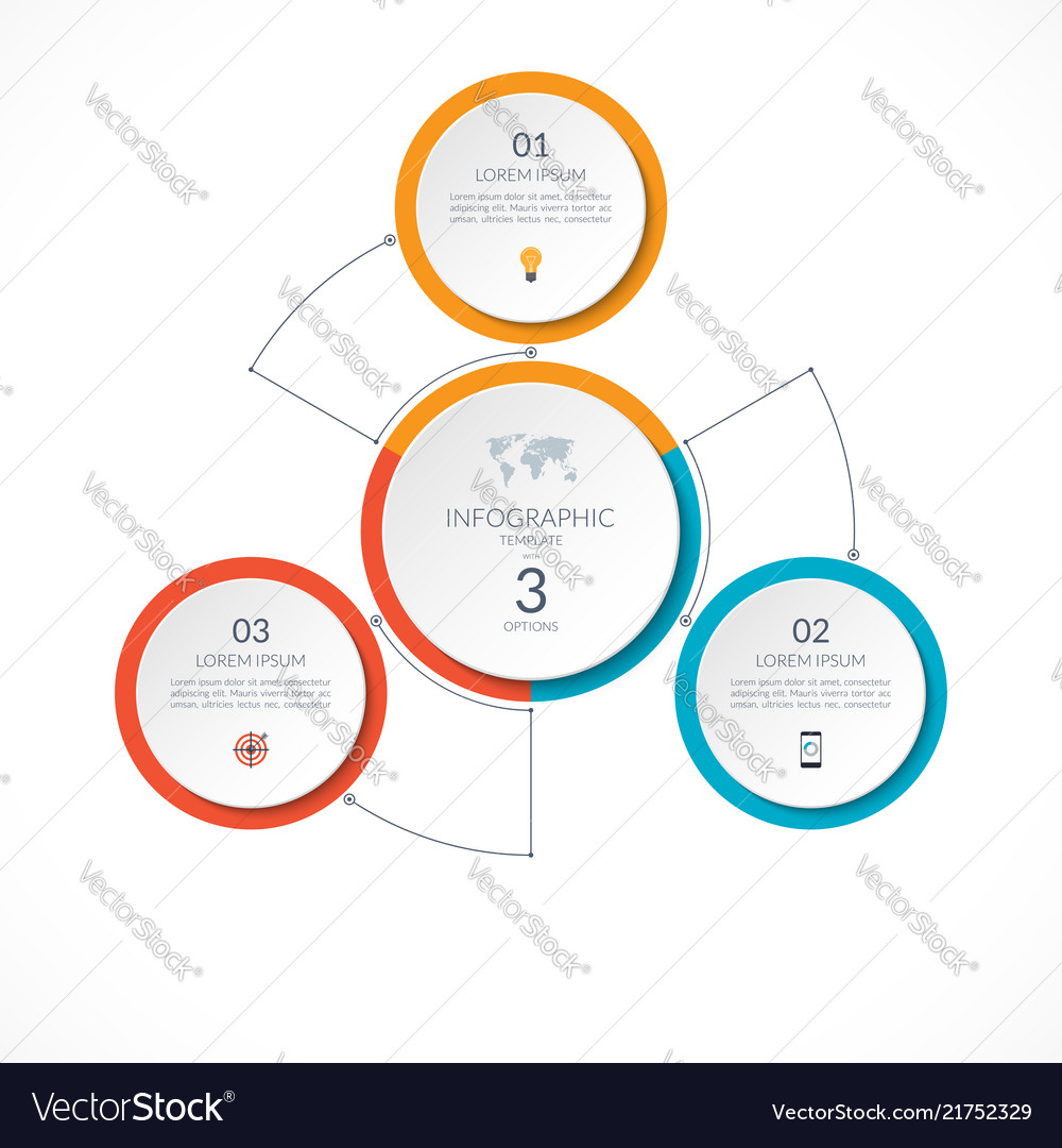 Infographic circle with 3 options