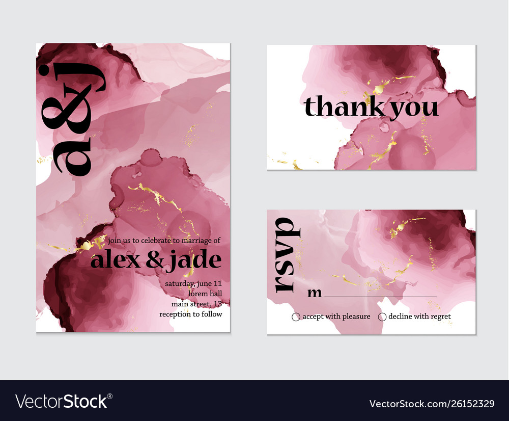 Pink watercolor splash wedding card art set of