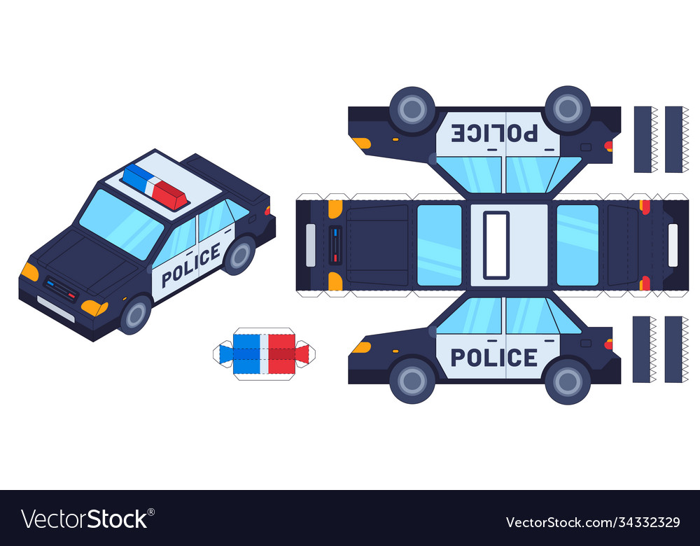 Police car paper cut toy kids crafts create toys