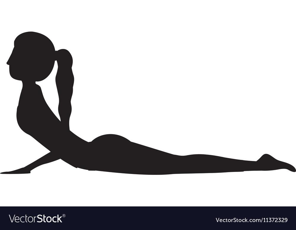 Silhouette yoga woman cobra pose