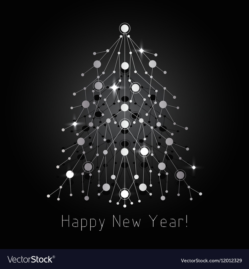 Silver fir tree made of connected lines and dots vector image