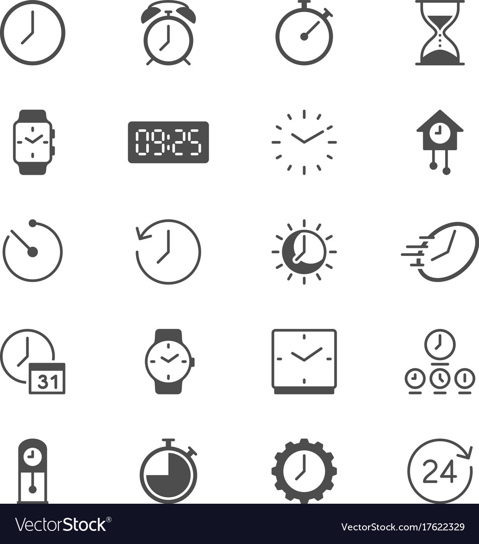 Time and clock flat icons