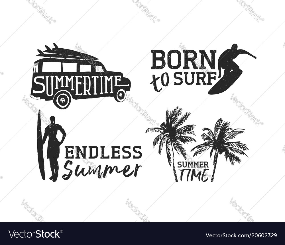 Tropical surf label set for summer beach vacation