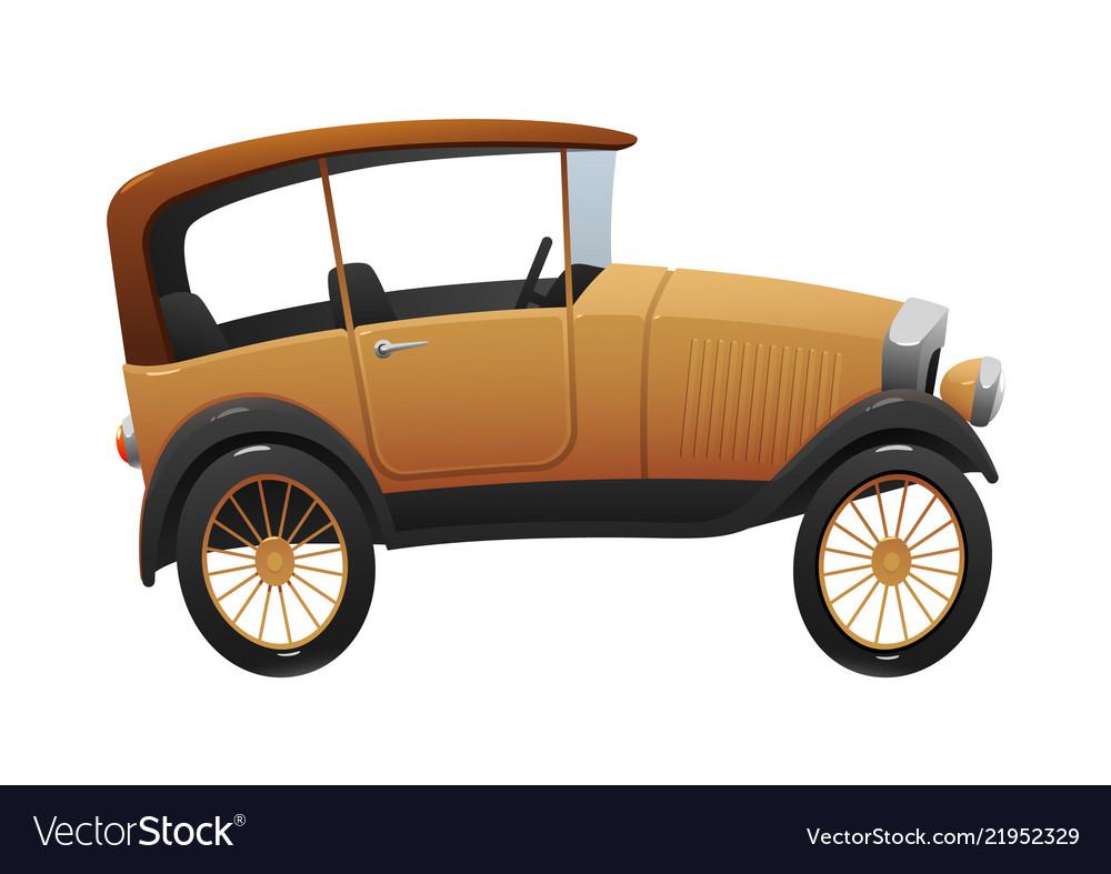 Vintage cartoon retro car on white background