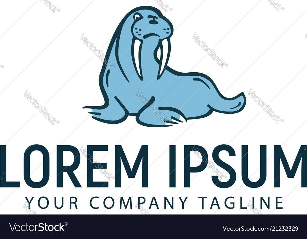 Walrus logo hand drawn design concept template