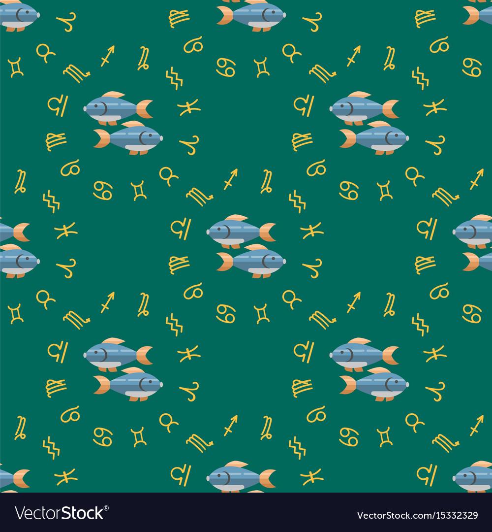 Zodiac fish seamless pattern horoscope astrology