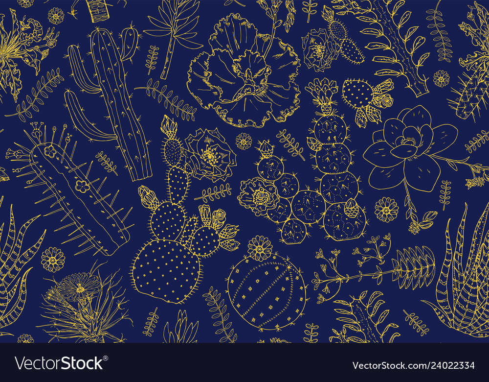 Cactus seamless pattern and flowers cozy cute
