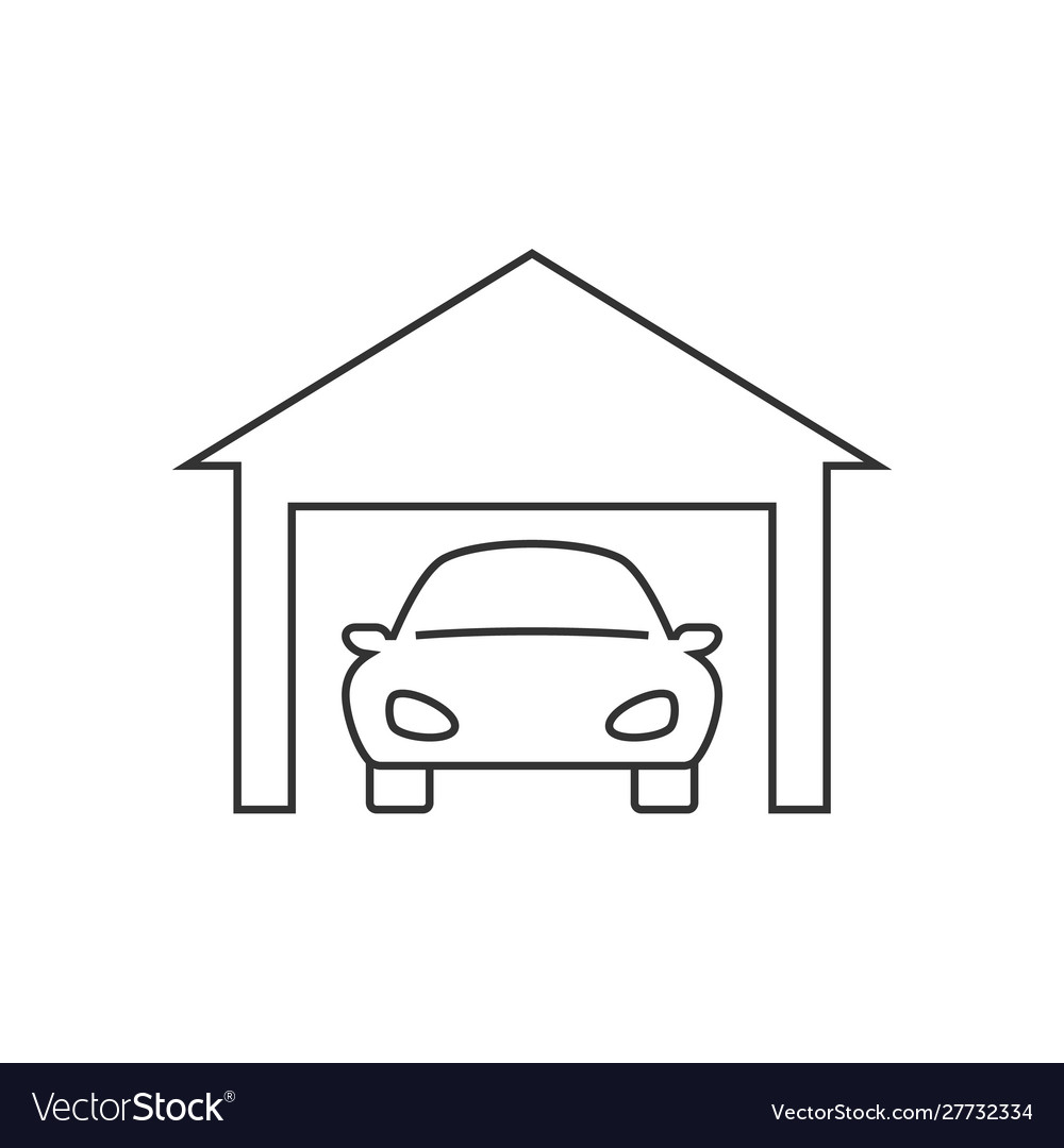 Car in garage line icon on white background