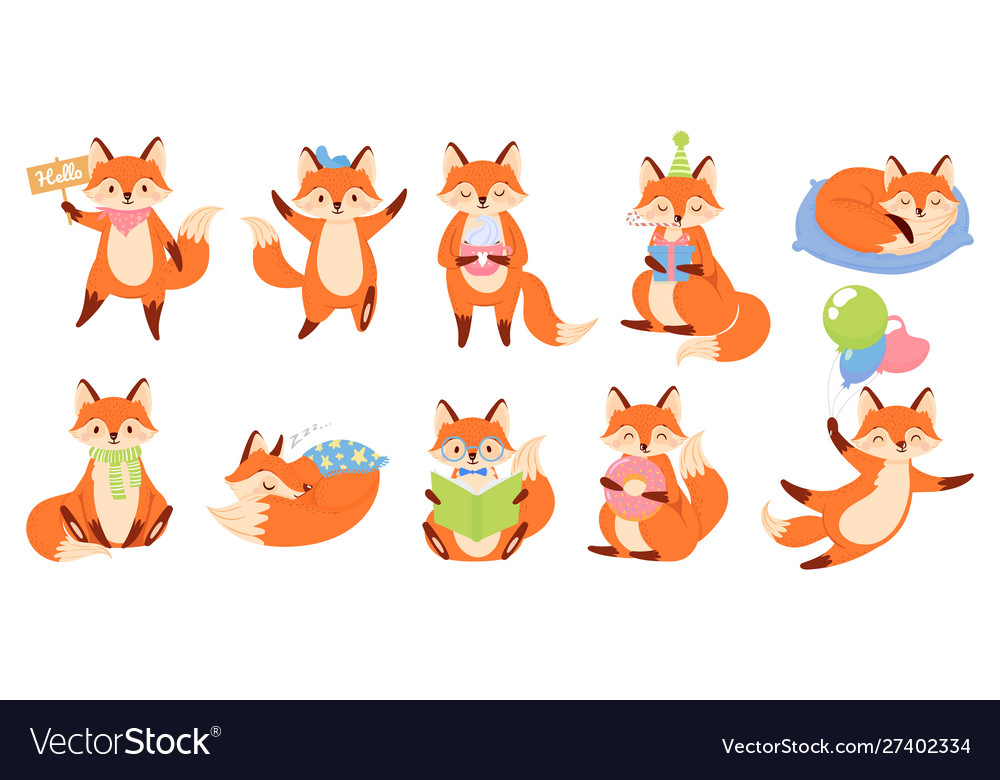 Cartoon fox mascot funny animal character cute