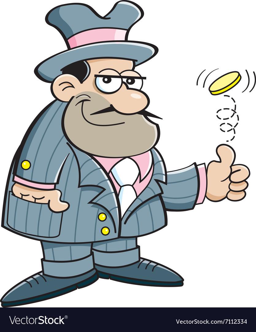 Cartoon gangster flipping a coin vector image