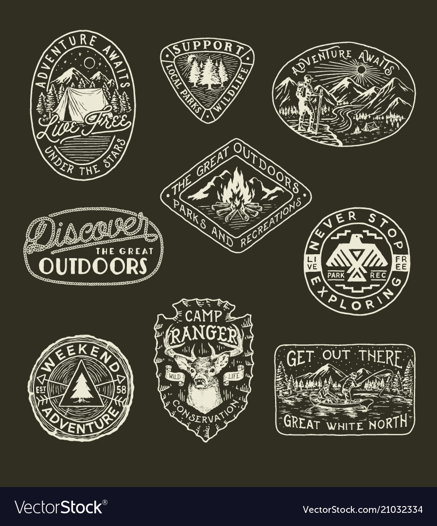 Collection of outdoor emblems vector image