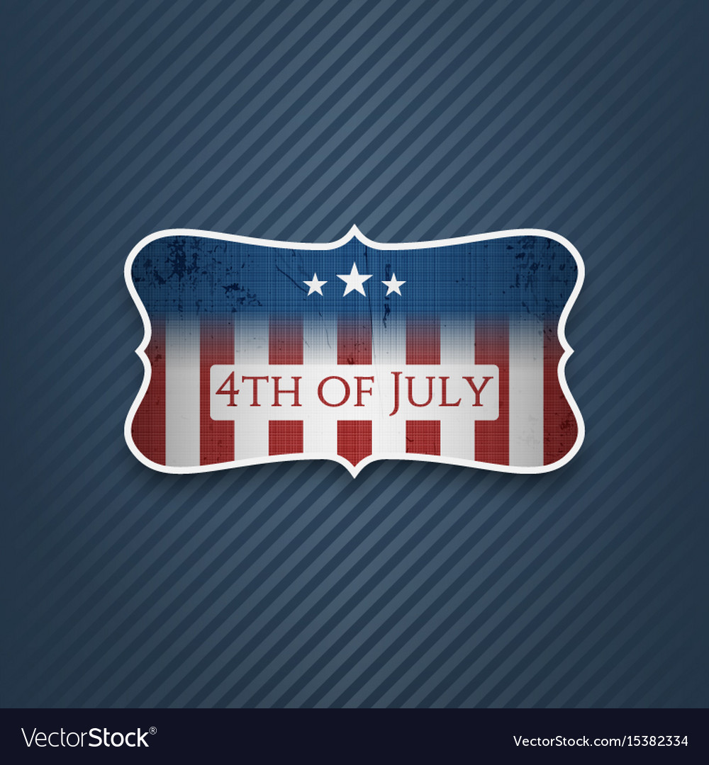 Fourth of july realistic label