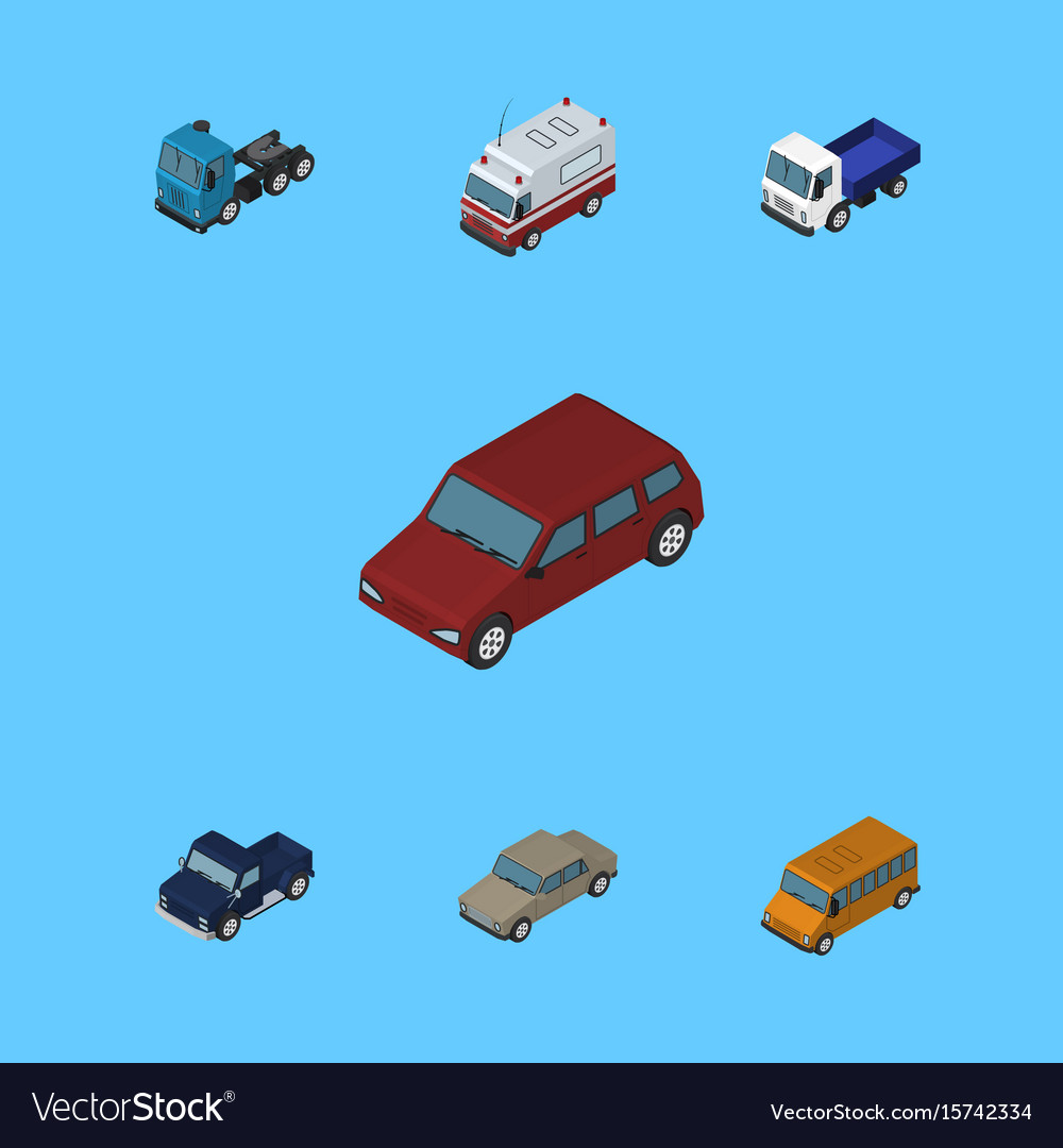 Isometric transport set of auto car truck and