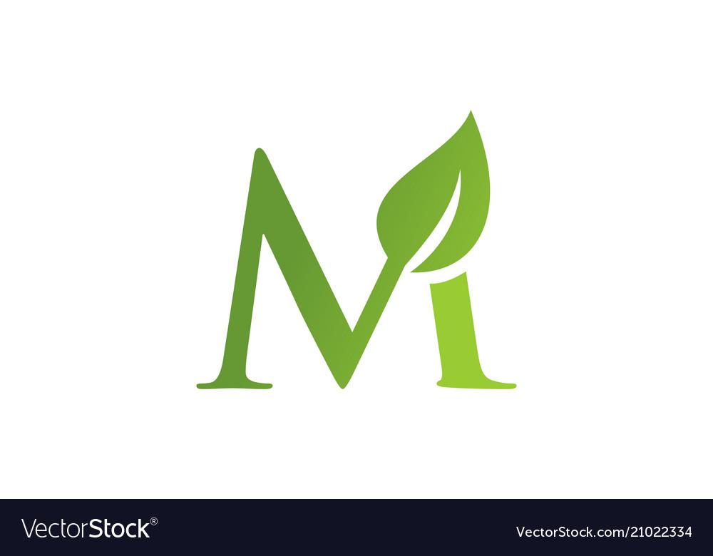 Letter m leaf nature logo