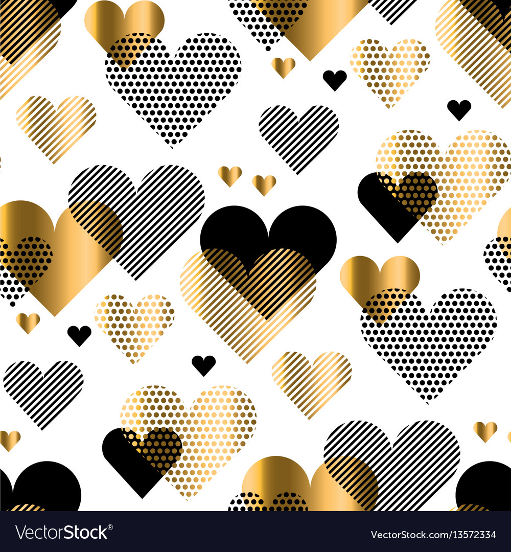 Love heart concept with gold luxury element simple vector image