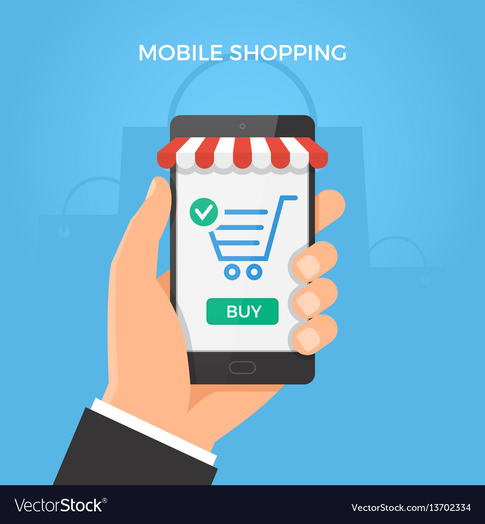 Mobile online shopping concept hand holding