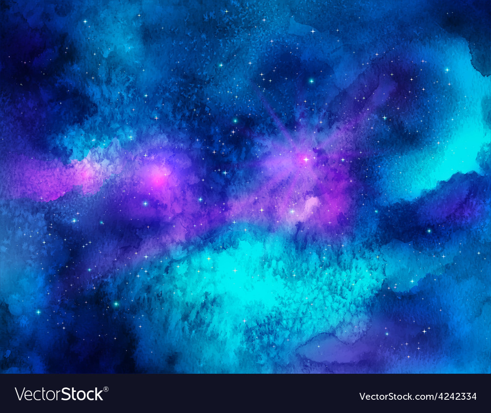Outer space Watercolor vector image