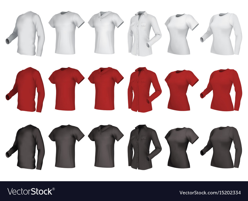 Polo shirts and t-shirts set vector image