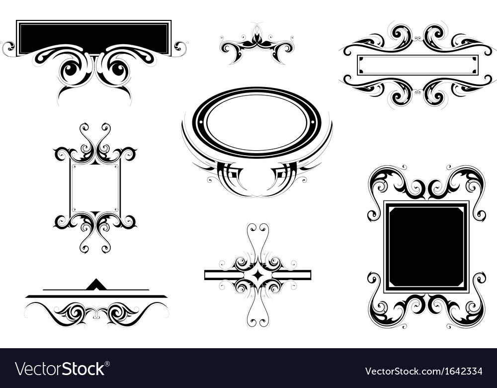 Set of vintage frames and borders Royalty Free Vector Image