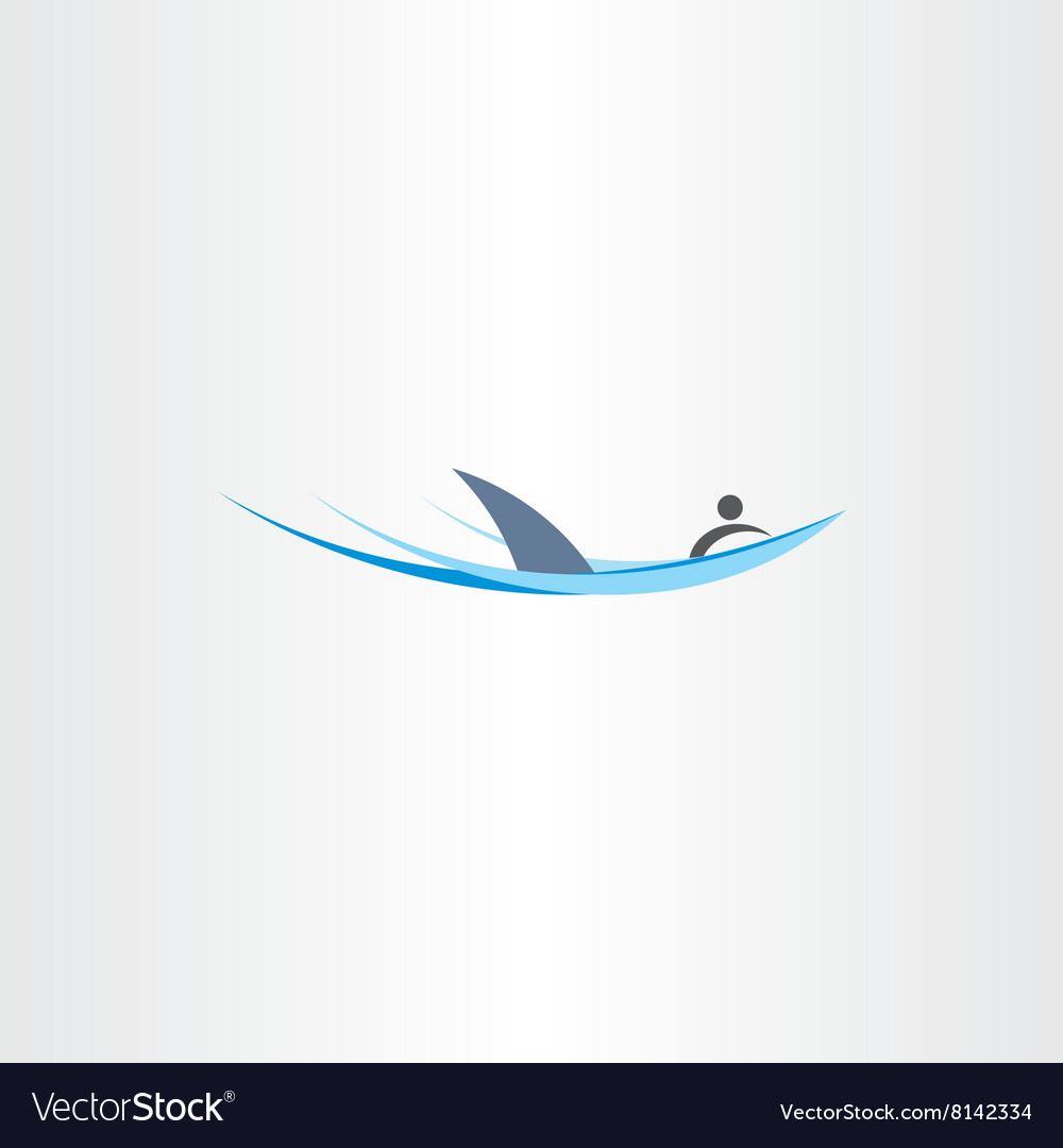 Shark attack man element stylized icon vector image