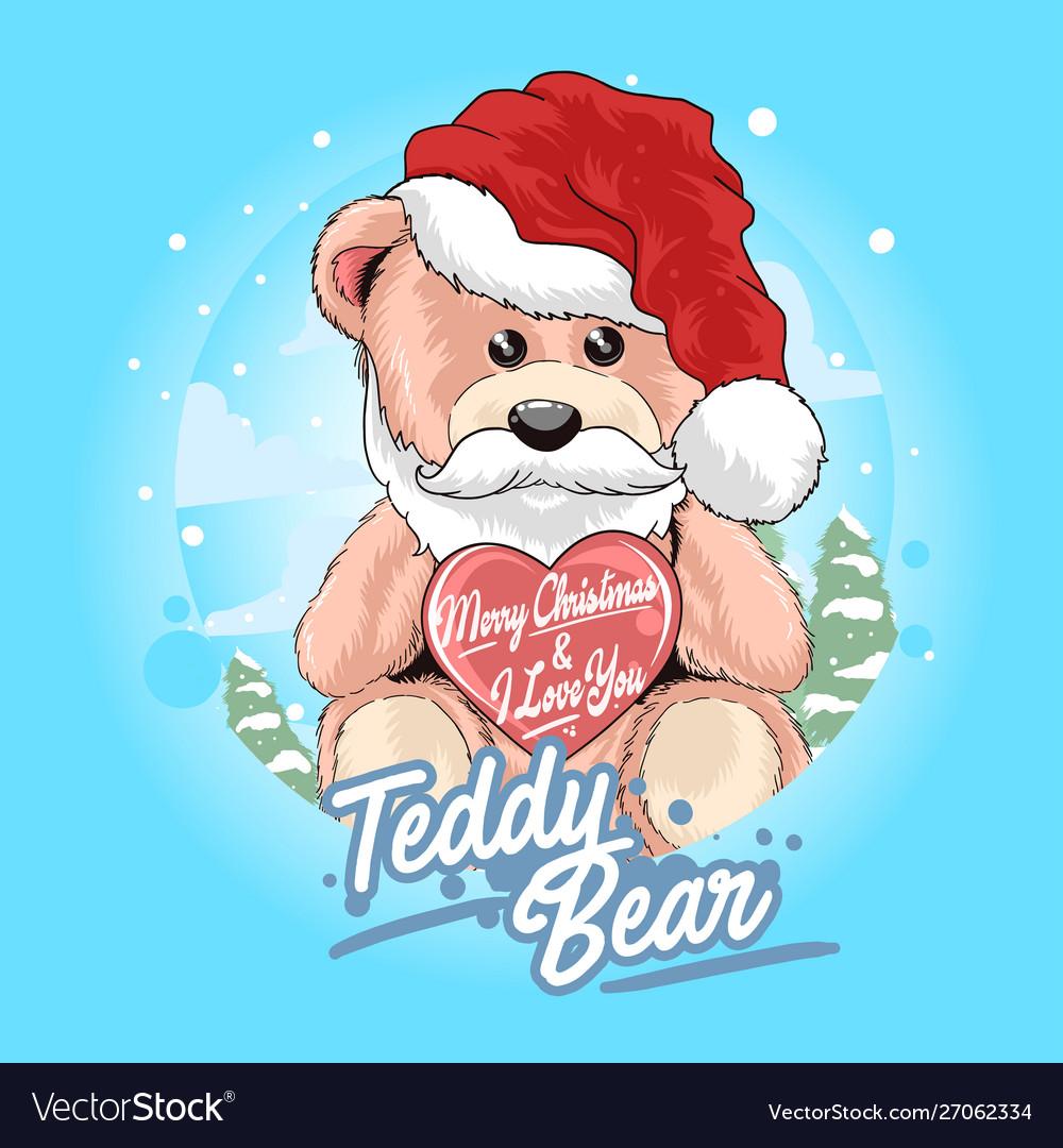 Teddy bear santa claus with christmas hat