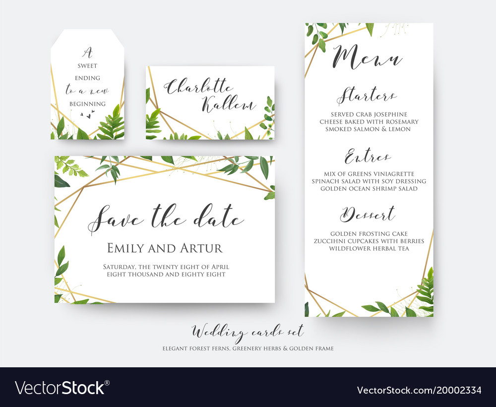 wedding floral save the date menu place card vector image