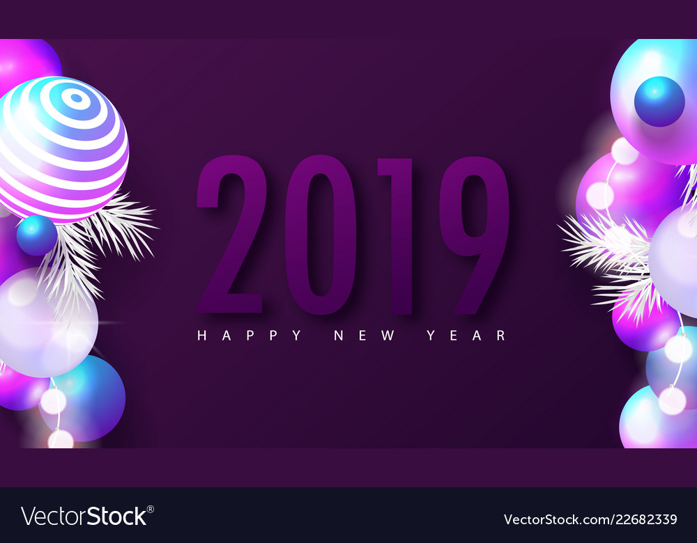 2019 happy new year background with colored balls