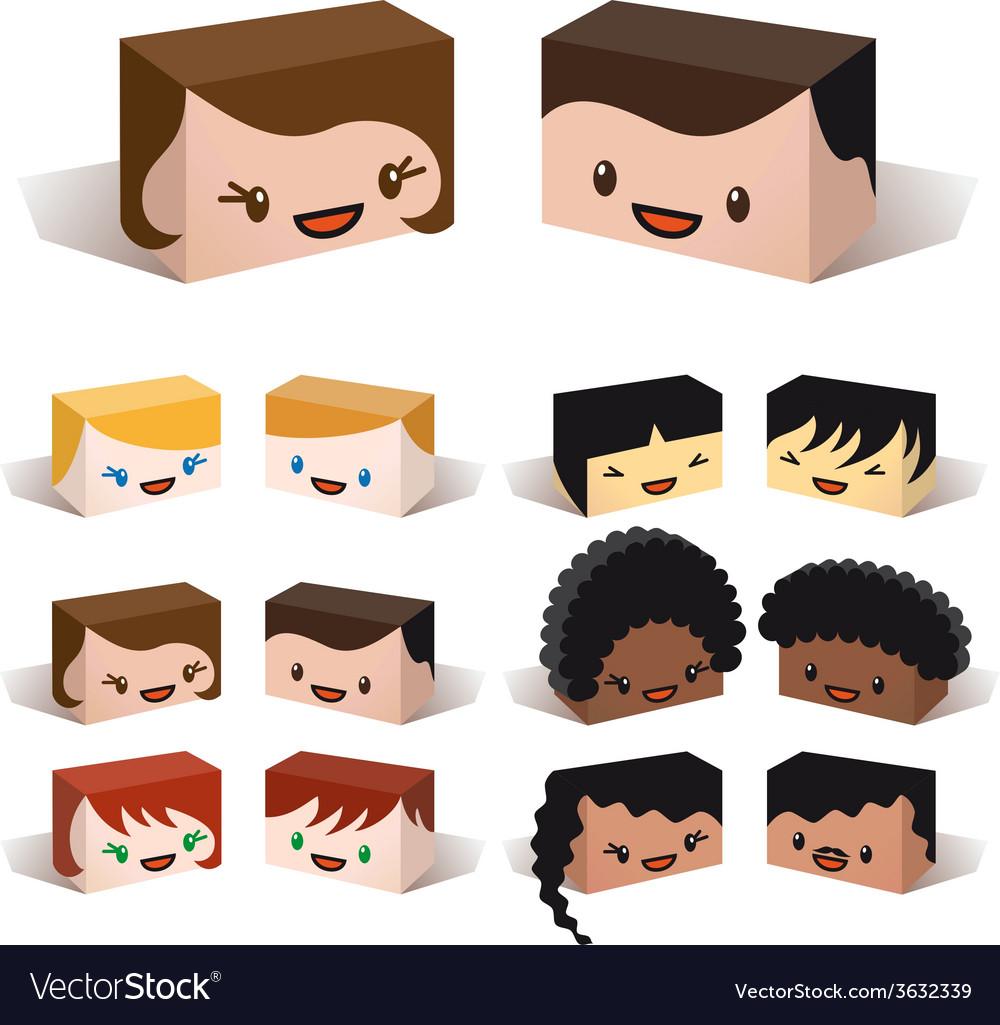 3D diversity avatars vector image