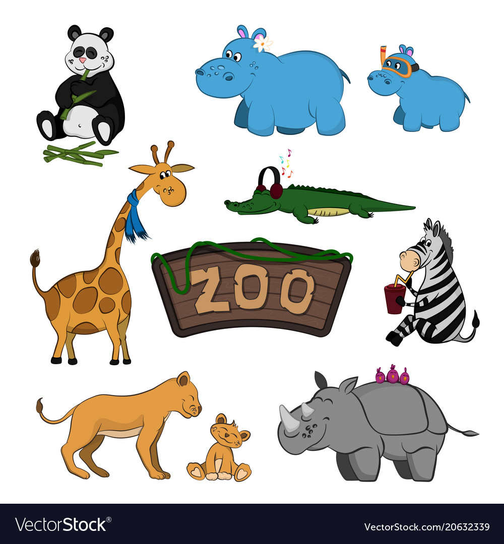 Animals of zoo set of cute images
