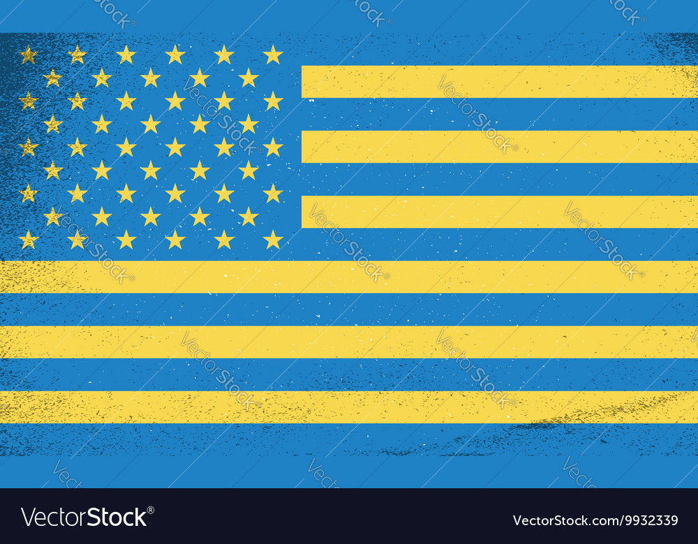 Flags of countries Ukraine and USA combined